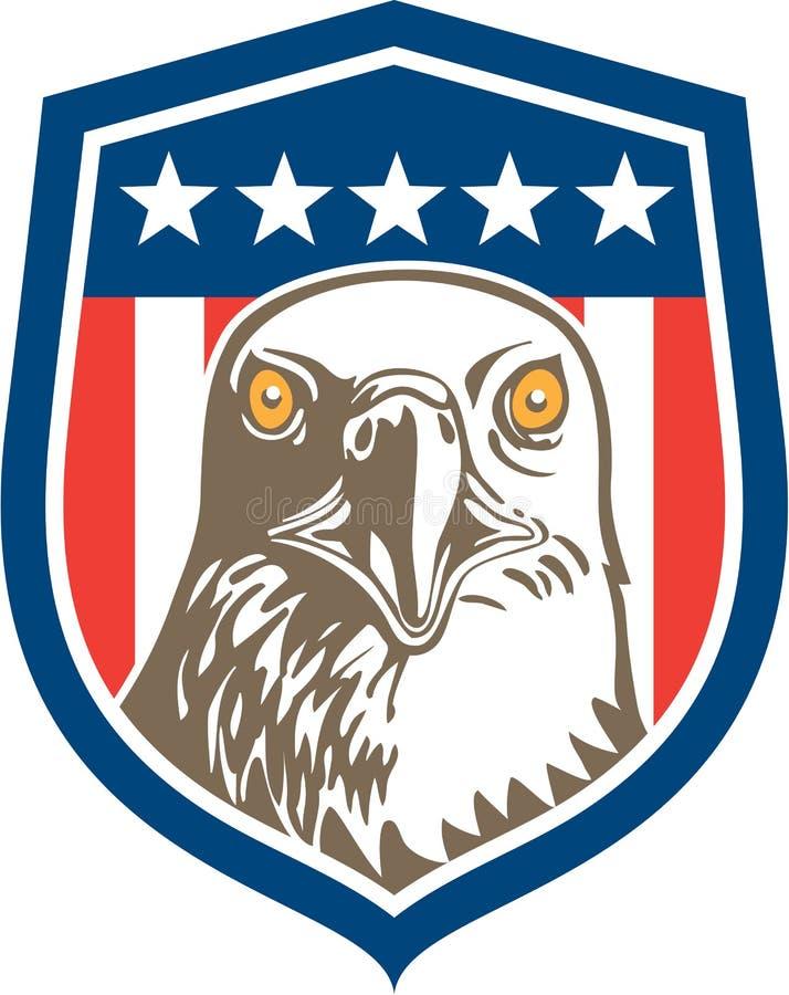 Amerikan skalliga Eagle Head Stars Shield Retro stock illustrationer