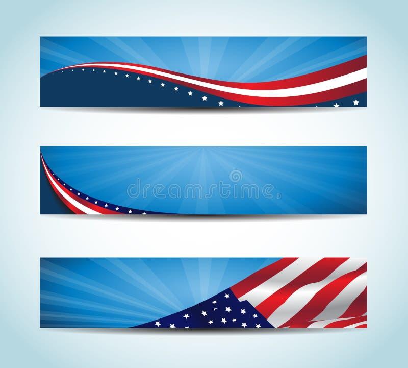Amerikanbaner vektor illustrationer