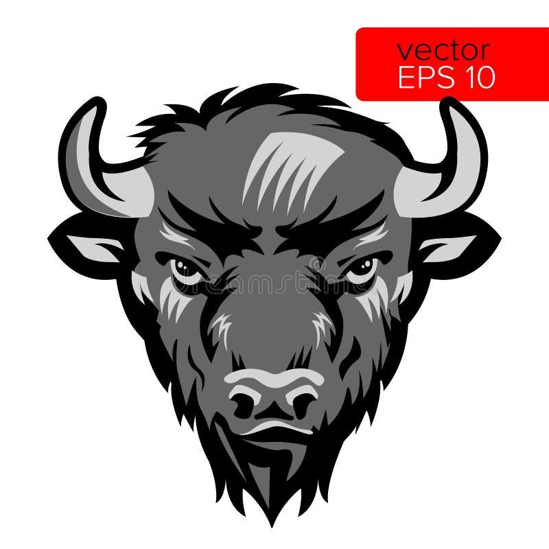 AmerikanBison Bull Mascot Head Vector illustration Svartvitt symbol för buffelhuvuddjur royaltyfri illustrationer