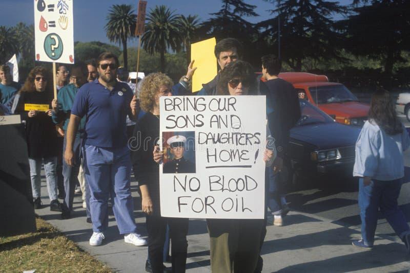 Amerikanen die oorlog in Midden-Oosten, Los Angeles, Californië protesteren royalty-vrije stock foto