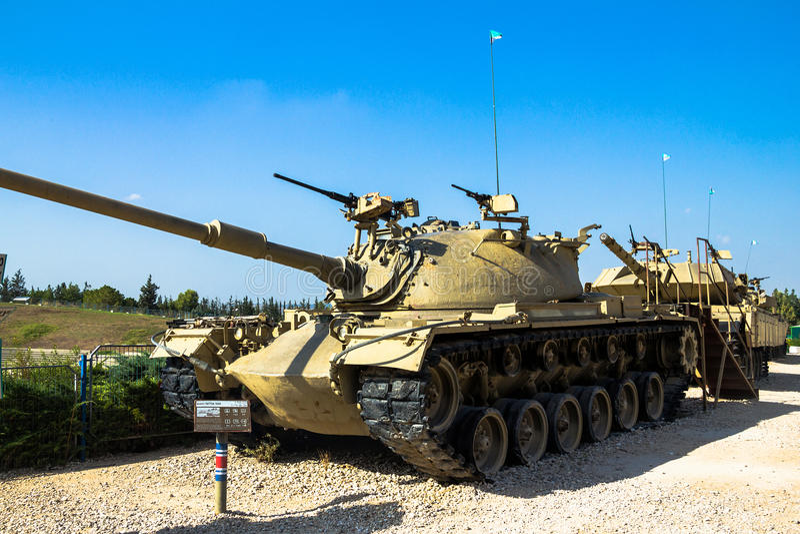 Amerikanen gjorde M48 A3 Patton Main Battle Tank Latrun Israel arkivfoto