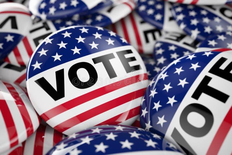 Amerikanen röstar knappen royaltyfri illustrationer