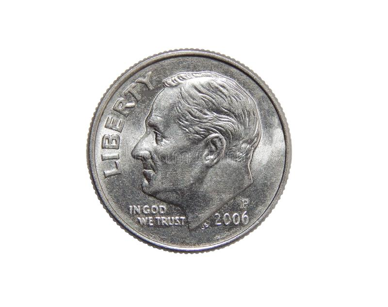 Amerikaner eine Groschenmünze 10 Cents lokalisiert auf weißem Hintergrund lizenzfreie stockfotos