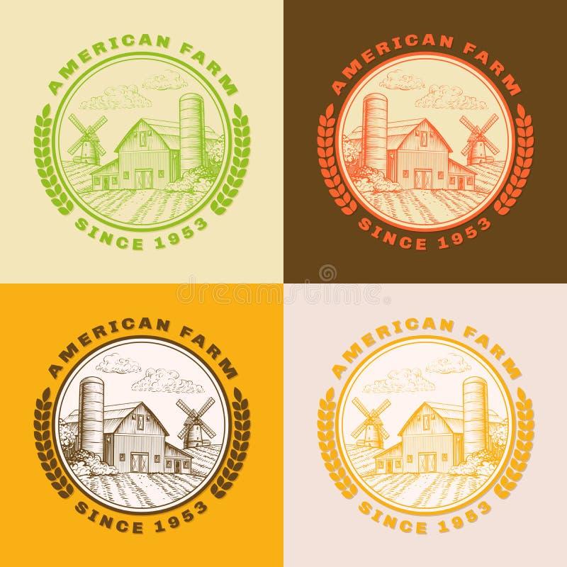 Amerikanische Bauernhofscheune für die Landwirtschaft mit Windmühle, Logosatz lizenzfreie abbildung