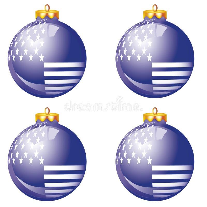 amerikanische blaue weihnachtskugeln vektor abbildung. Black Bedroom Furniture Sets. Home Design Ideas