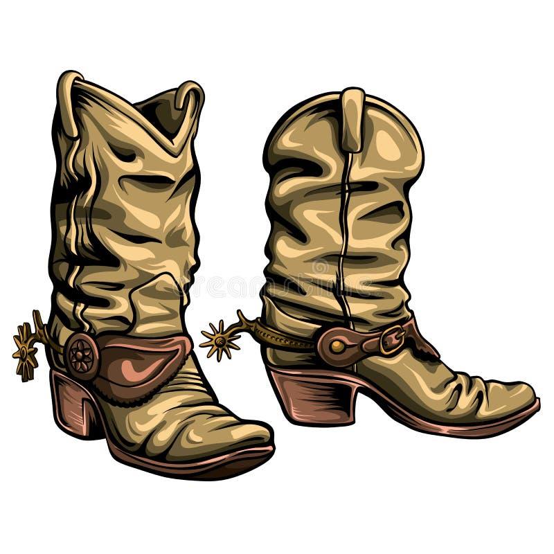 Amerikanische Cowboystiefel-Vektorillustration lizenzfreie abbildung