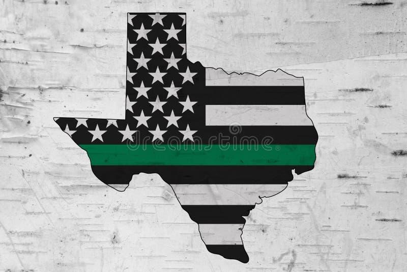 Amerikanische dünne Flagge der Grünen Grenze auf Karte von Texas stockbilder