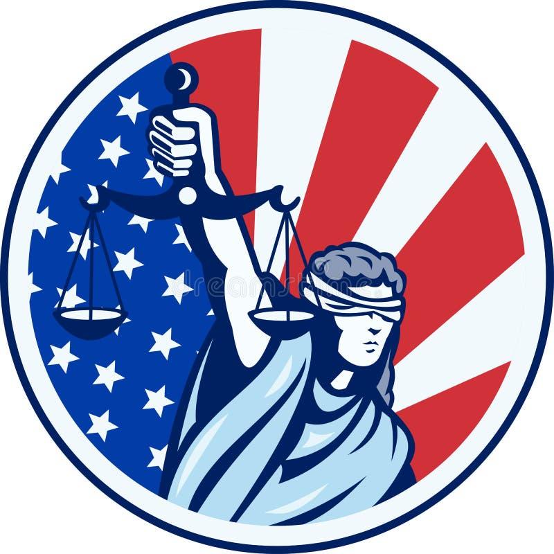 Amerikanische Dame Holding Scales der Gerechtigkeit-Markierungsfahne Retro- lizenzfreie abbildung