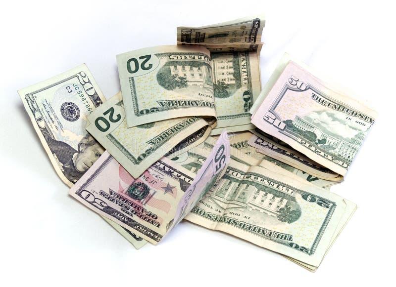 Amerikanische Dollar auf Weiß stockbilder