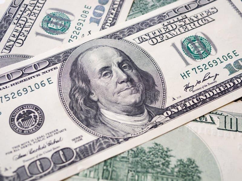 Amerikanische Dollarbanknote der Nahaufnahme Hundert Dollarbanknote lizenzfreies stockfoto