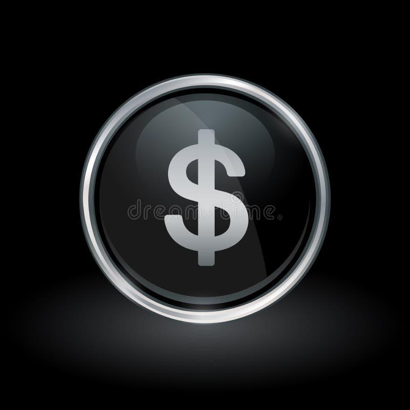 Amerikanische Dollarwährungsikone innerhalb des runden Silbers und des schwarzen Emblems lizenzfreie abbildung