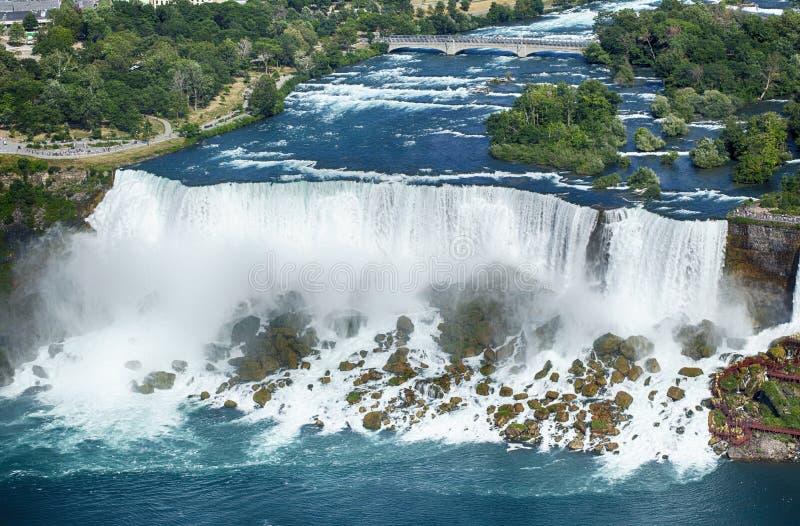 Amerikanische Fälle und Brautschleier-Fälle, Niagara Falls, New York, USA lizenzfreies stockfoto