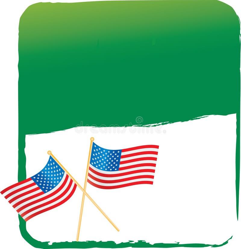 Amerikanische Flagge auf grüner Fahne stock abbildung
