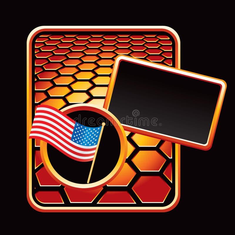 Amerikanische Flagge auf orange Hexagonreklameanzeige vektor abbildung