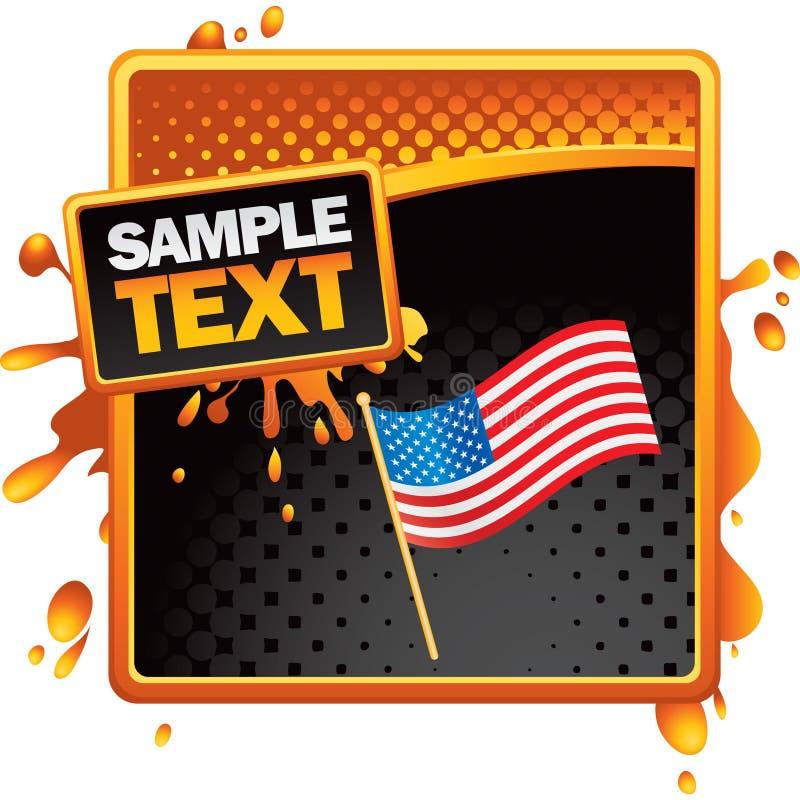 Amerikanische Flagge auf orange splattered Fahne stock abbildung
