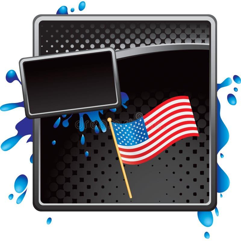Amerikanische Flagge auf schwarzer grungy Halbtonfahne lizenzfreie abbildung