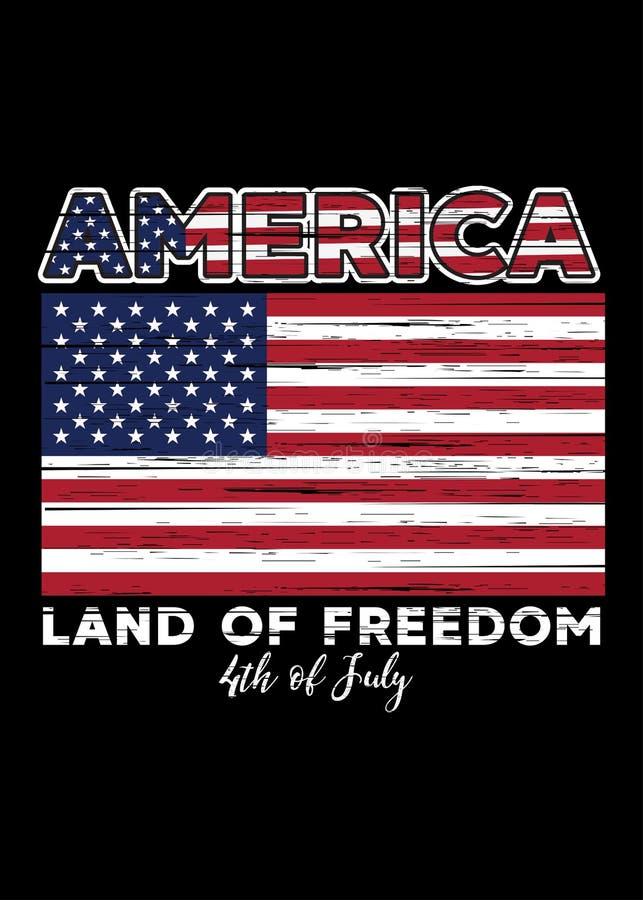 Amerikanische Flagge beunruhigtes Stolzland des Unabhängigkeitsplakats der Freiheit am 4. Juli bunt stock abbildung