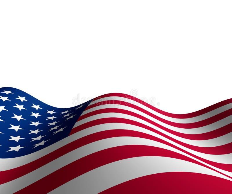 Amerikanische Flagge in der horizontalen Perspektive vektor abbildung