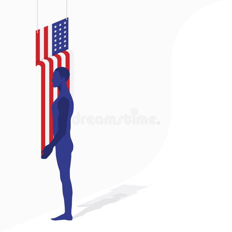 Amerikanische Flagge der schönen Form und Schattenbild eines Mannes in einem Raum Flache Illustration ENV 10 lizenzfreie abbildung