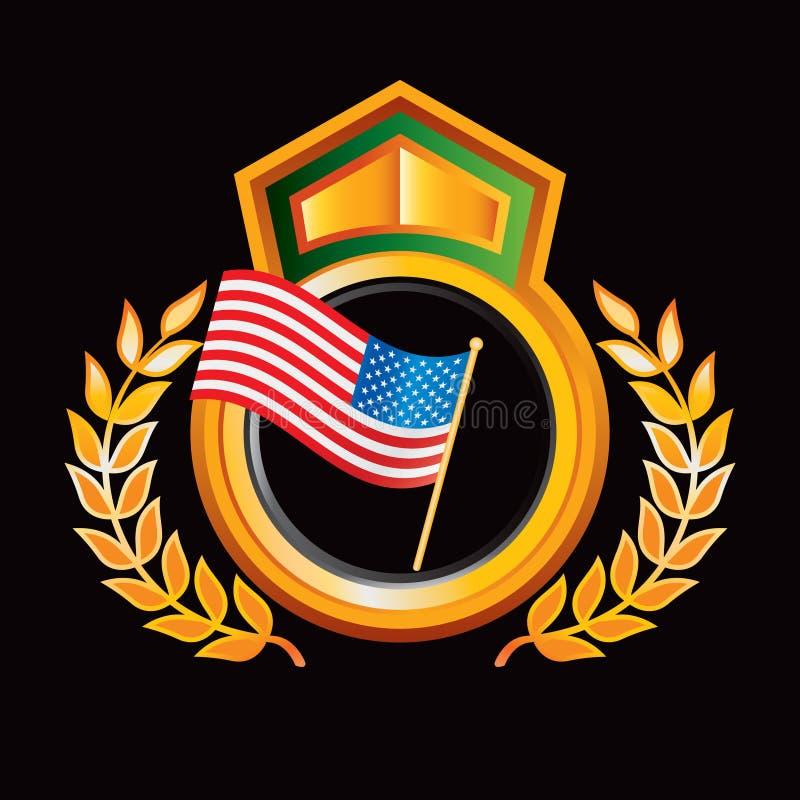 Amerikanische Flagge im orange königlichen Scheitel vektor abbildung