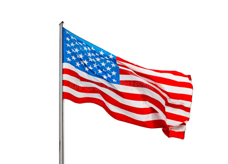 Amerikanische Flagge Im Wind Auf Einem Weißen Hintergrund Stockfoto ...