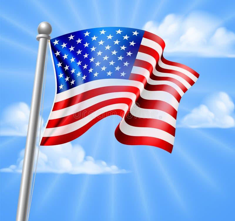 Amerikanische Flagge mit Himmel vektor abbildung