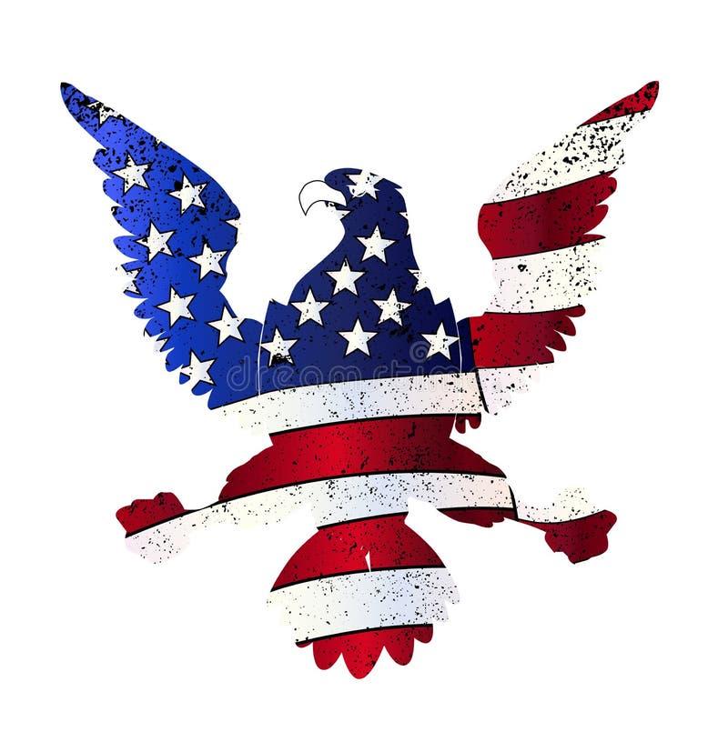 Amerikanische Flagge und Adler lizenzfreie abbildung