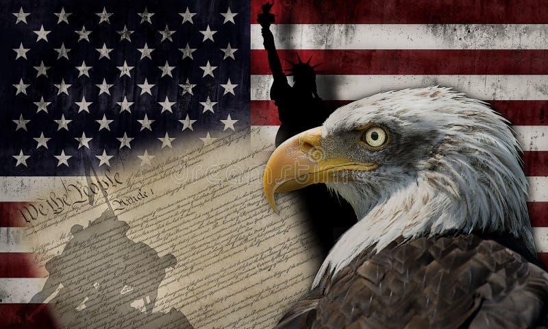 Amerikanische Flagge und Denkmäler lizenzfreies stockbild