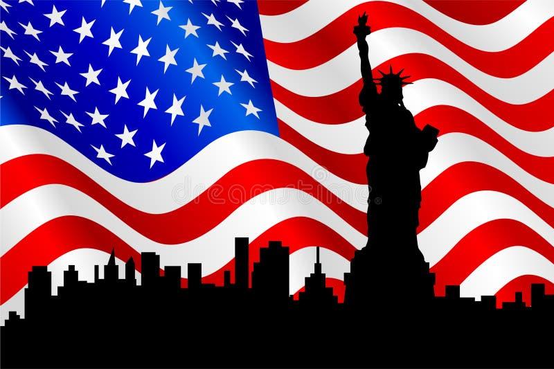 Amerikanische Flagge und Freiheitsstatue. lizenzfreie abbildung