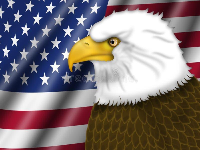 Amerikanische Flagge und kahler Adler lizenzfreie abbildung