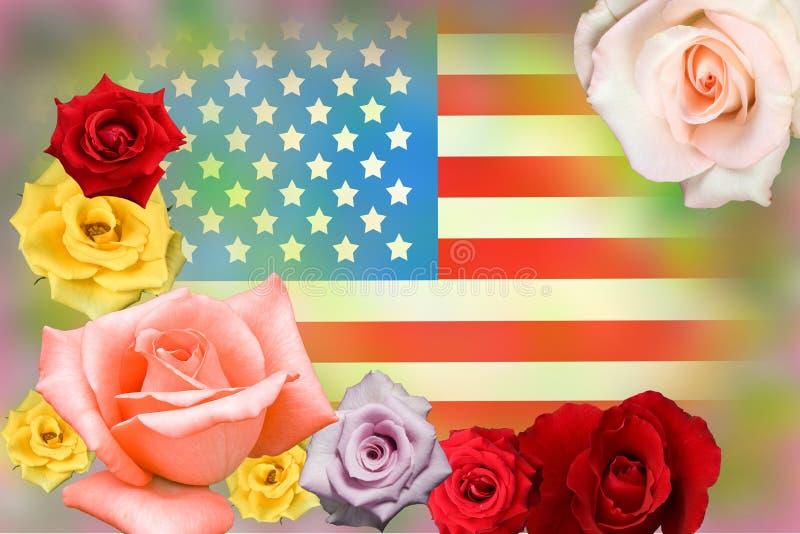 Amerikanische Flagge und stieg stockfotos
