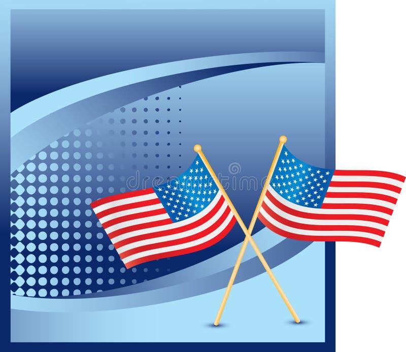 Amerikanische Flaggen auf blauer Halbtonfahne lizenzfreie abbildung