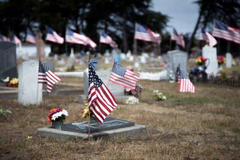 Amerikanische Flaggen, die Kriegstote ehren lizenzfreie stockfotografie