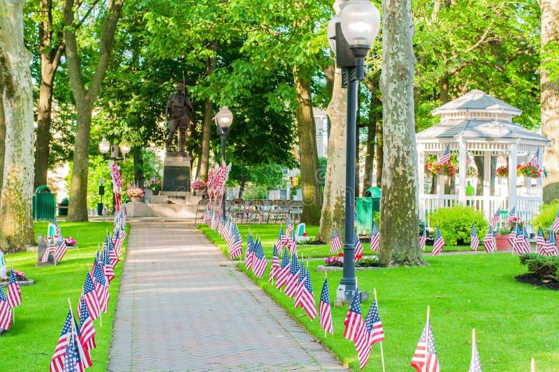 Amerikanische Flaggen verbreiteten auf Rasen des allgemeinen Parks als Teil Memorial Day -Feier lizenzfreies stockbild
