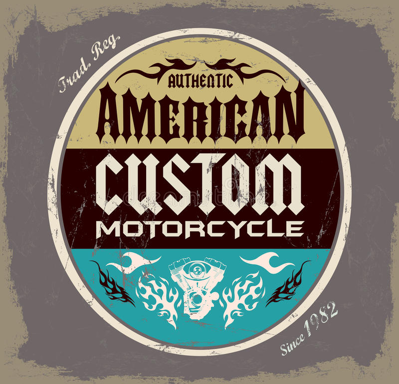 Amerikanische Gewohnheit - Chopper Motorcycle-Ausweis lizenzfreie abbildung