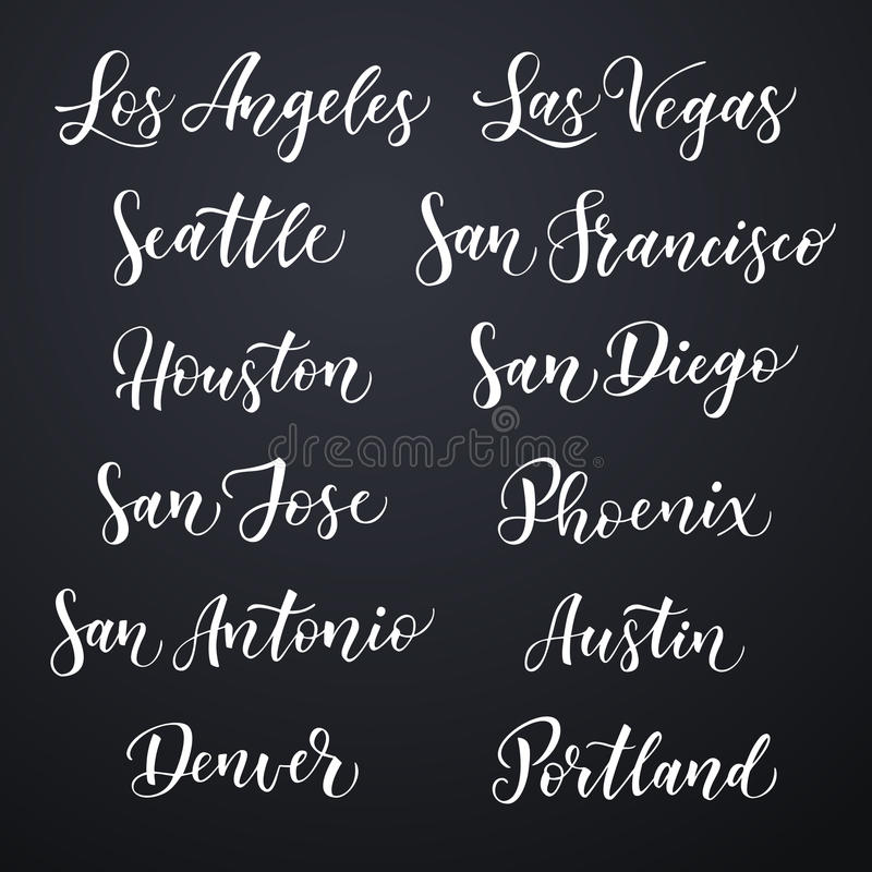 Amerikanische gezeichnete Vektorbeschriftung der Stadt Hand Bürsten Sie Typografie, USA - Los Angeles, Las Vegas, Seattle, San Fr stock abbildung