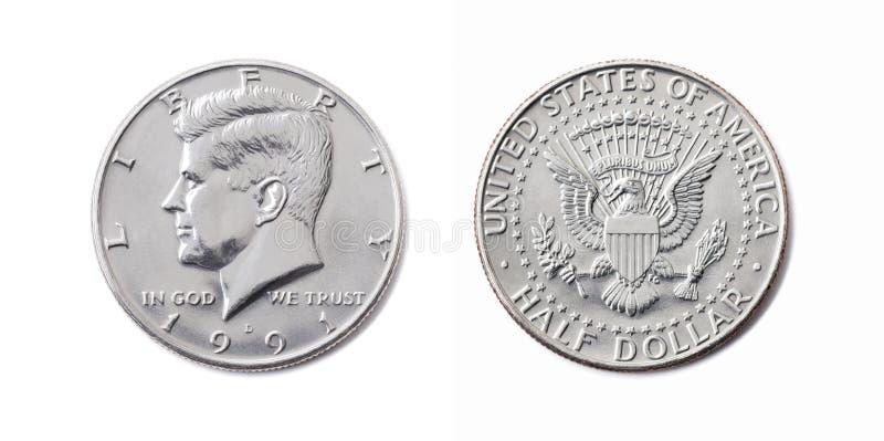 Amerikanische Halbdollarmünzemünze, fünfzig Cent, 50 c, Dollarisolator USA 1/2 lizenzfreie stockfotografie