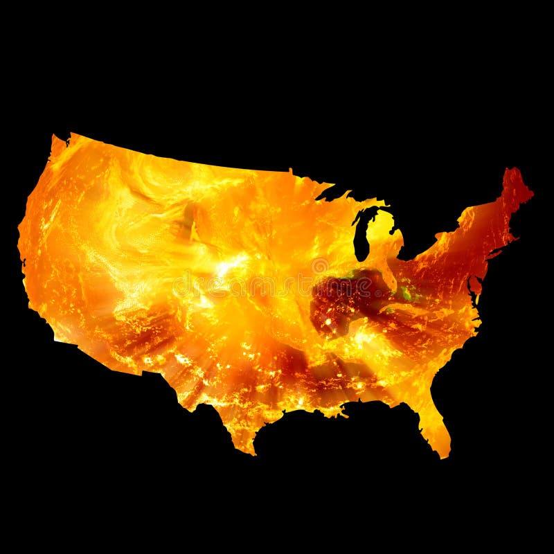 Amerikanische Karte auf Feuer stock abbildung