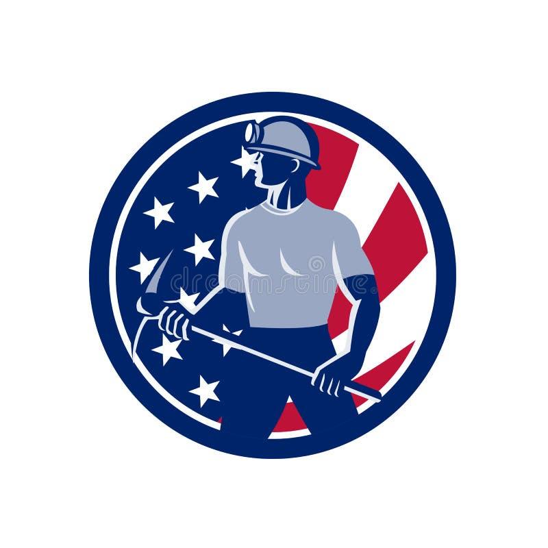 Amerikanische Kohlen-Bergmann USA-Flaggen-Ikone lizenzfreie abbildung