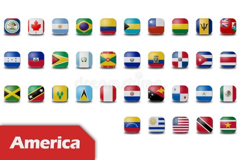 Amerikanische Kontinentmarkierungsfahnen stock abbildung