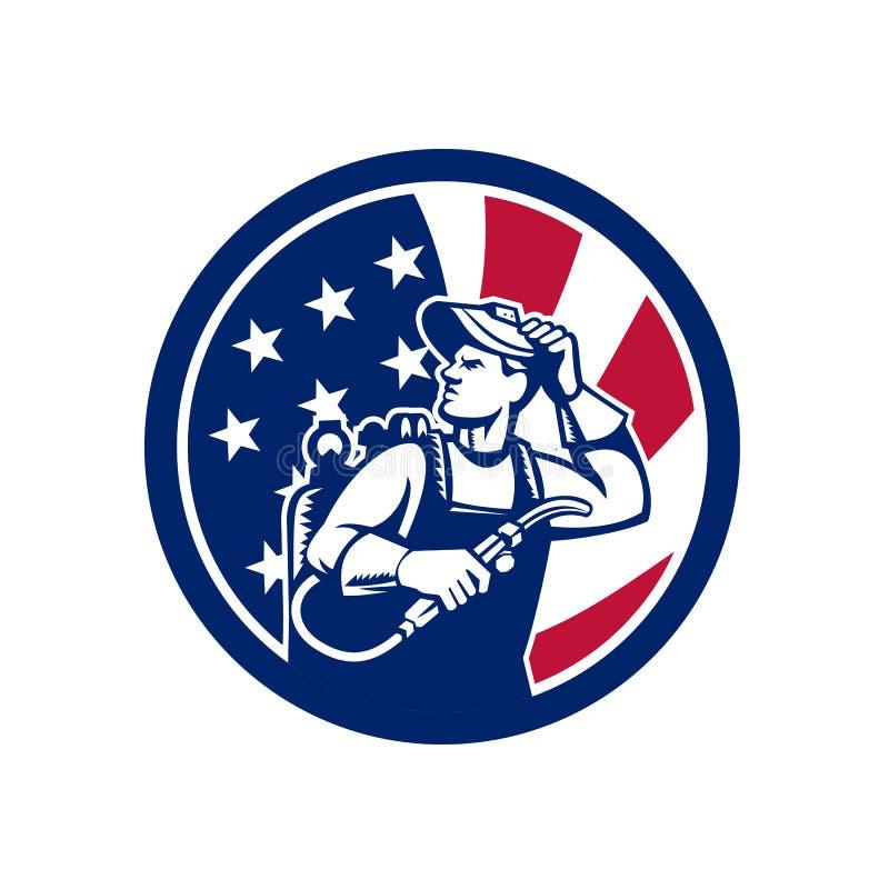 Amerikanische Lit-Betreiber USA-Flaggen-Ikone lizenzfreie abbildung