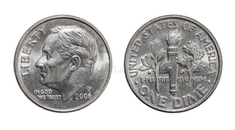 Amerikanische Münze 10 Cents EIN GROSCHEN USA stockbild