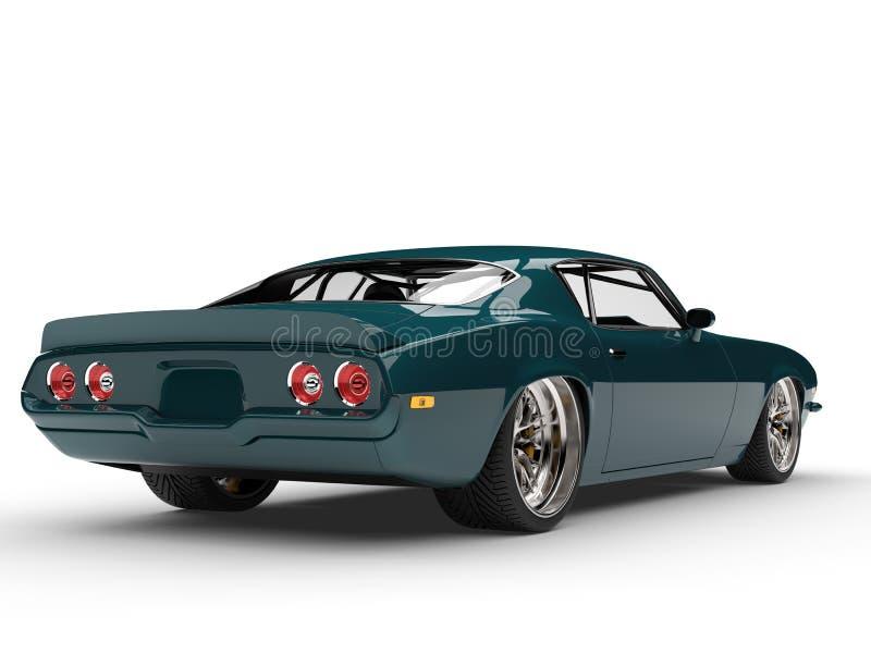 Amerikanische Motor- hintere Ansicht der grünen klassischen Mitternachtsweinlese lizenzfreie abbildung