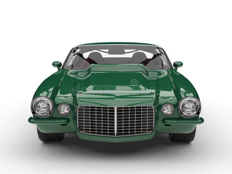 Amerikanische Motor- Vorderansicht der klassischen Weinlese des Smaragdgrüns lizenzfreie abbildung