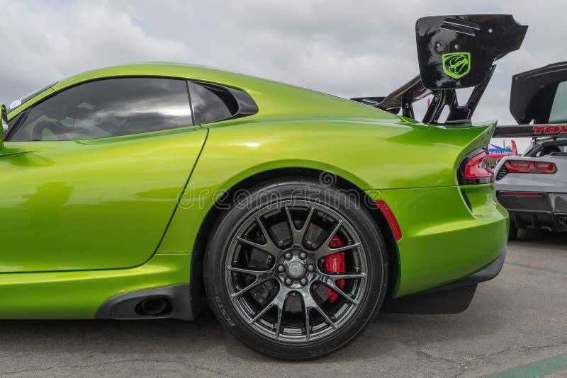 Amerikanische Muskelauto Dodge-Viper ausgestellt am Torqued Ausflugereignis stockfoto