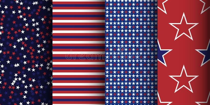 Amerikanische patriotische gestreifte und sternenklare nahtlose Muster eingestellt Gewebe, Verpackung und Kleiderhintergrund stock abbildung