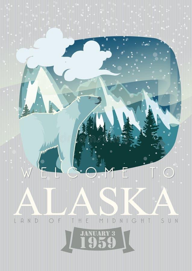 Amerikanische Reisefahne Alaskas Plakat mit Eisbären vektor abbildung