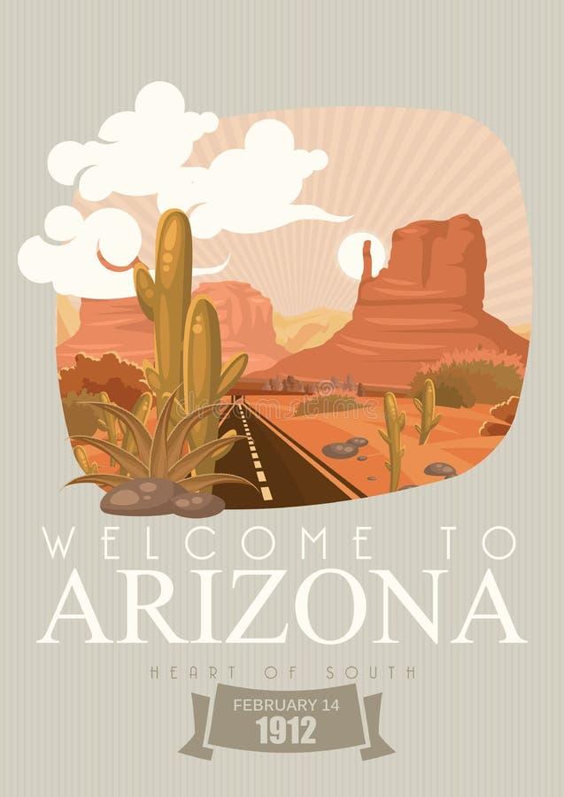 Amerikanische Reisefahne Arizonas Herz des Südens lizenzfreie abbildung