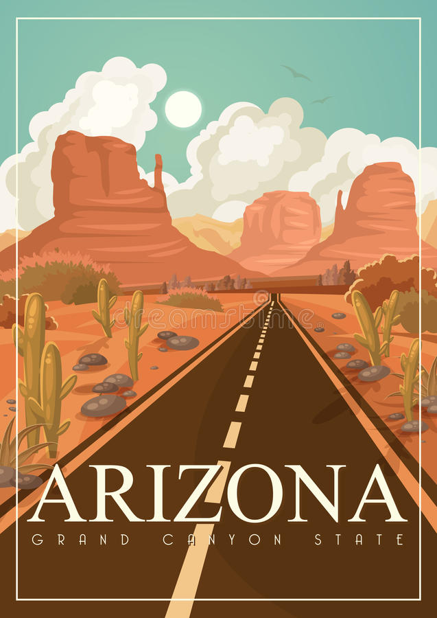 Amerikanische Reisefahne Arizonas Plakat mit Arizona-Landschaften in der Weinleseart lizenzfreie abbildung