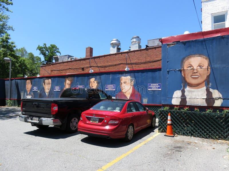 Amerikanische Stadt-Restaurant-Wand-Kunst im Los stockbilder